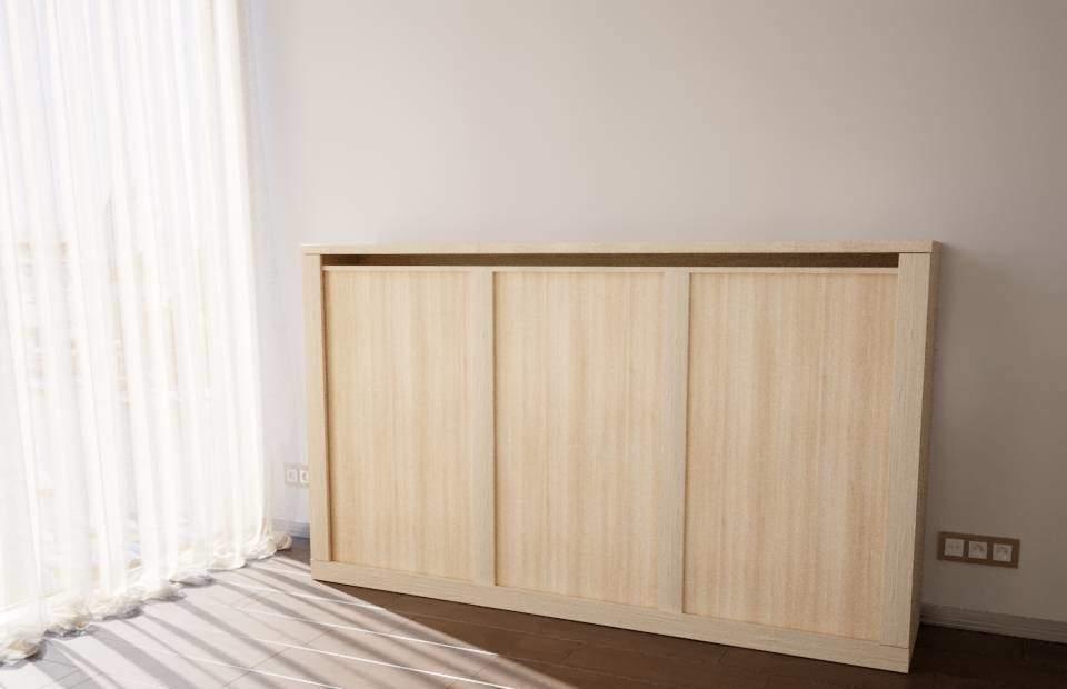 Сложенная 1,5-спальная подъёмная кровать