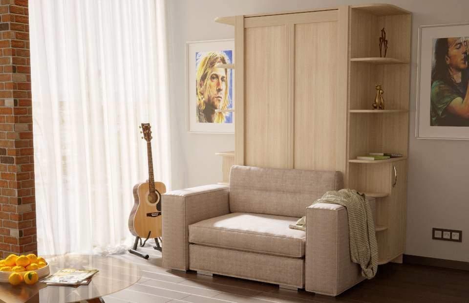 1-спальная подъёмная кровать с диваном купить