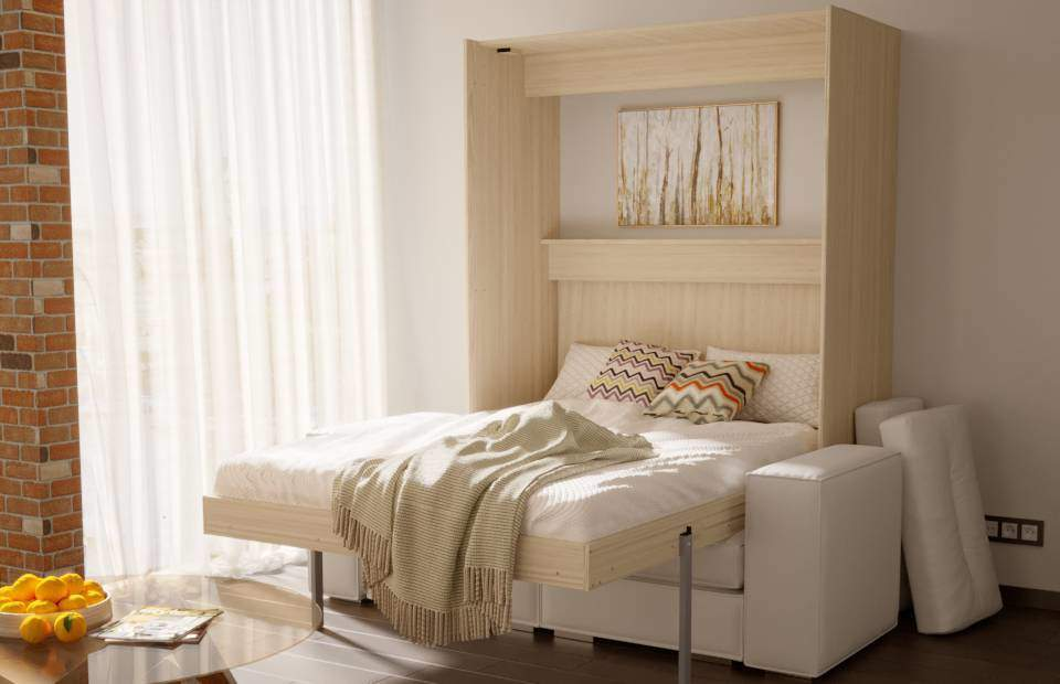 Двуспальная подъёмная кровать с диваном в спб