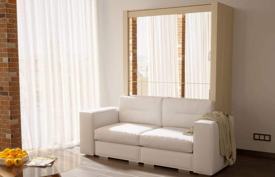 Двуспальная подъёмная кровать с диваном