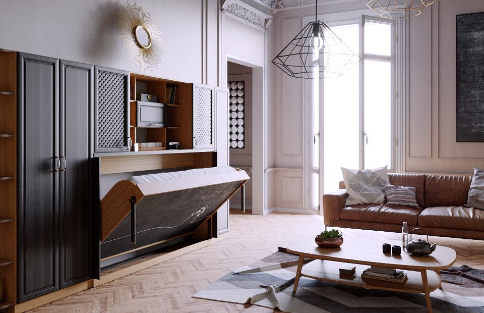 Комплект с 1,5-спальной подъёмной кроватью и диваном «Ар нуво» спб
