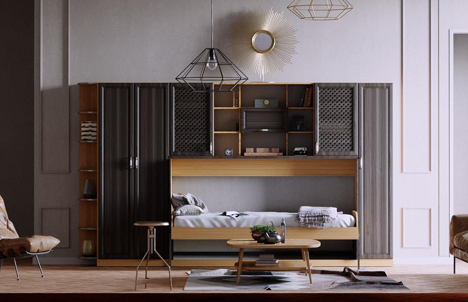 Комплект с 1,5-спальной подъёмной кроватью и диваном «Ар нуво»
