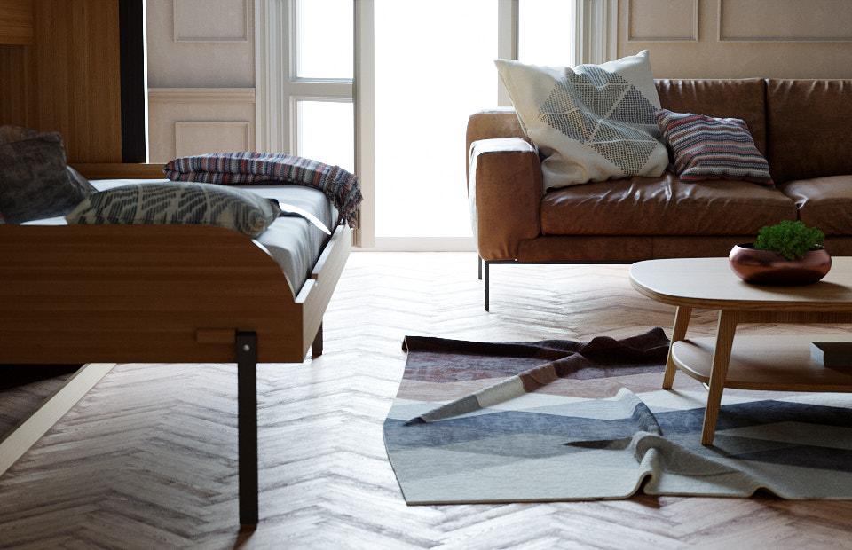 Комплект с 1,5-спальной подъёмной кроватью и диваном «Ар нуво» недорого