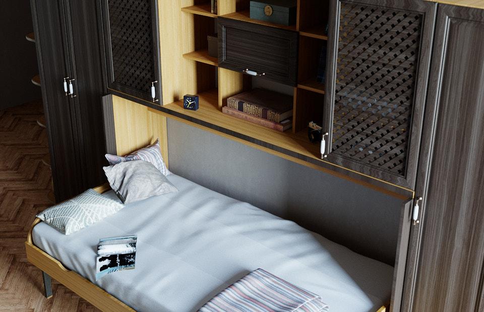 Комплект с 1,5-спальной подъёмной кроватью и диваном «Ар нуво» цена