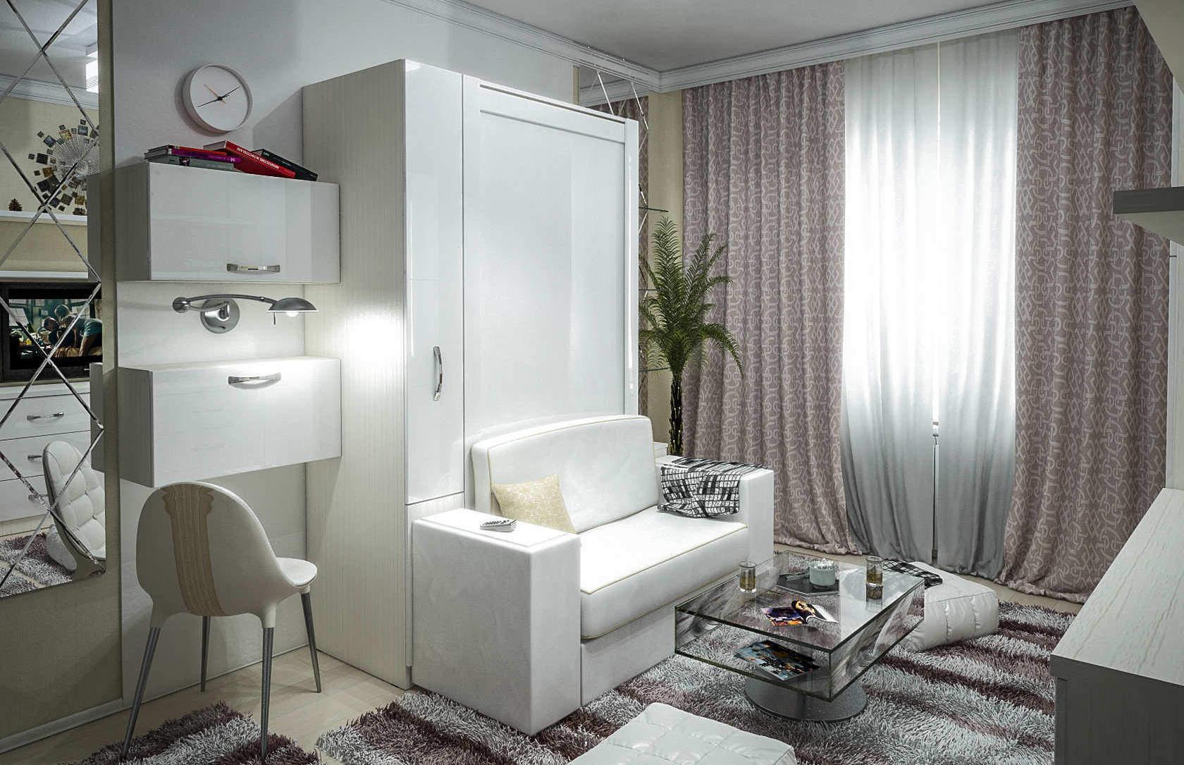 Комплект с 1-спальной подъёмной кроватью и диваном «Блик»