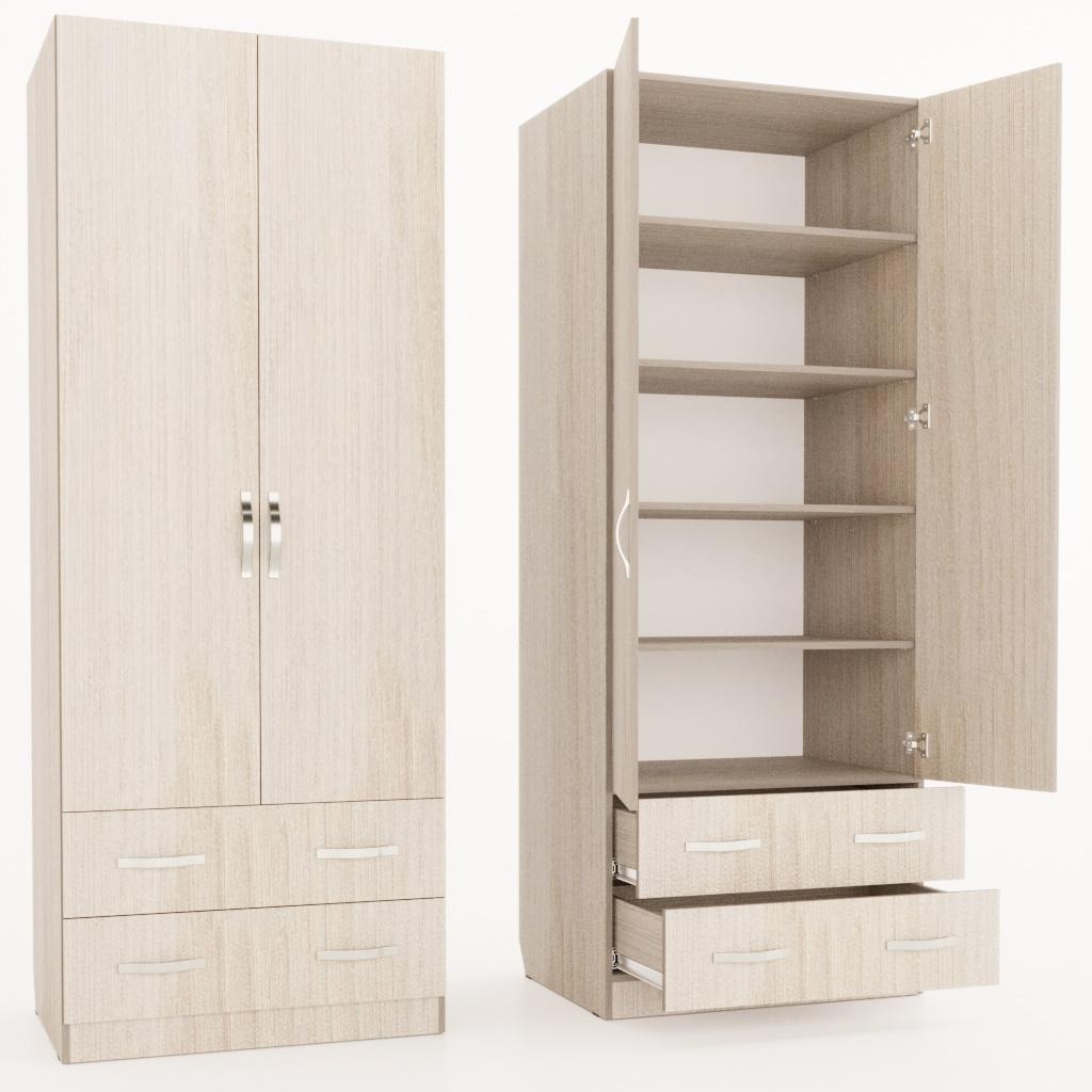 Шкаф с полками и 2-мя ящиками
