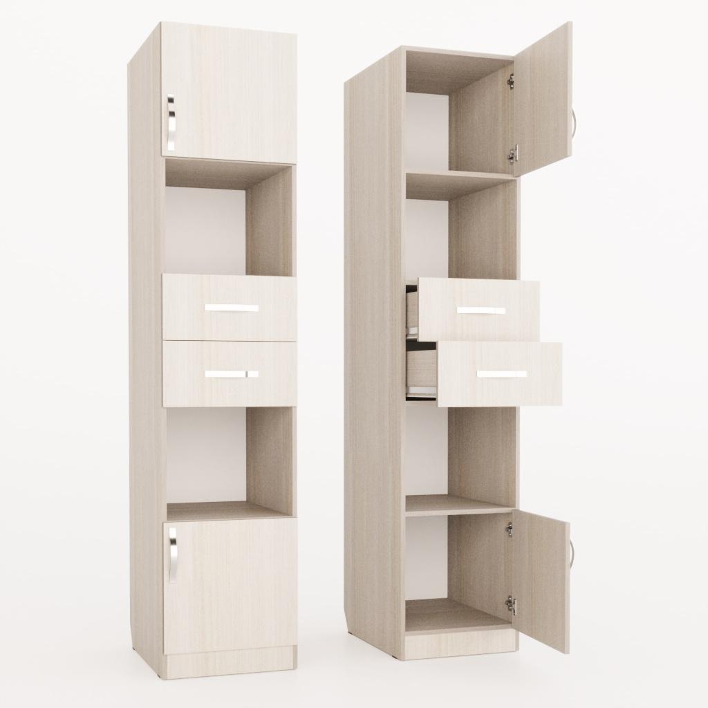 Открытый пенал с ящиками и дверками